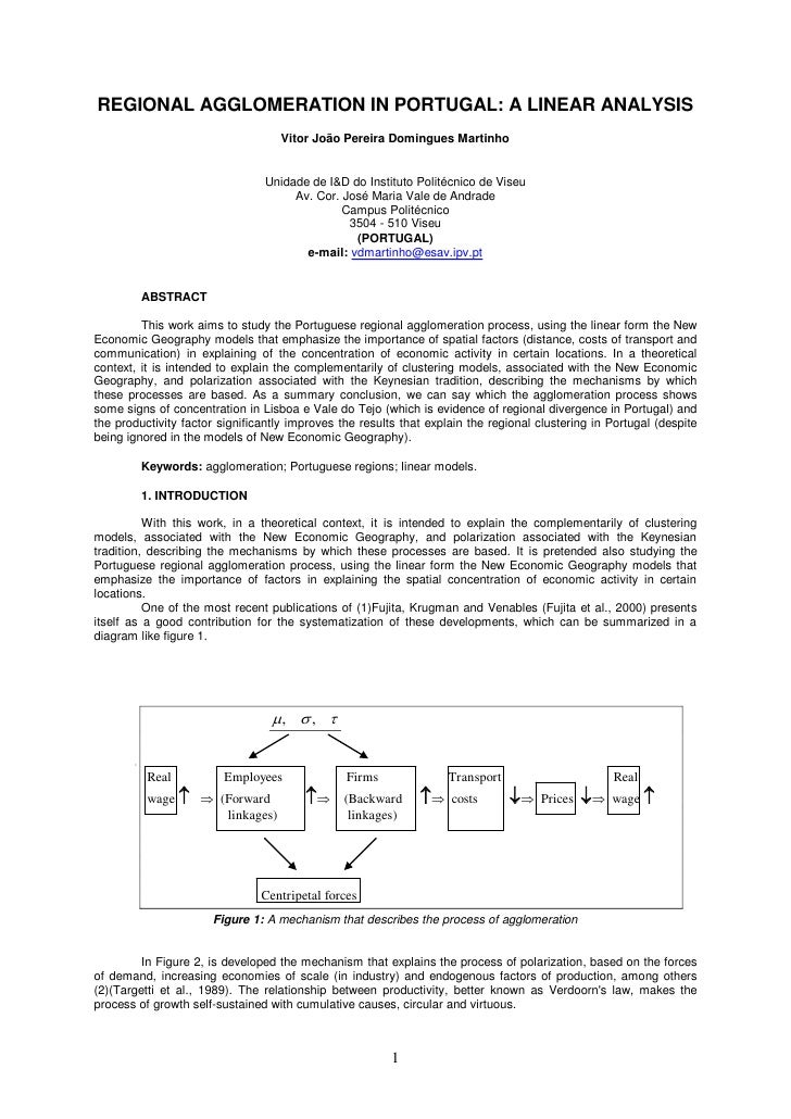 REGIONAL AGGLOMERATION IN PORTUGAL: A LINEAR ANALYSIS                                   Vitor João Pereira Domingues Marti...