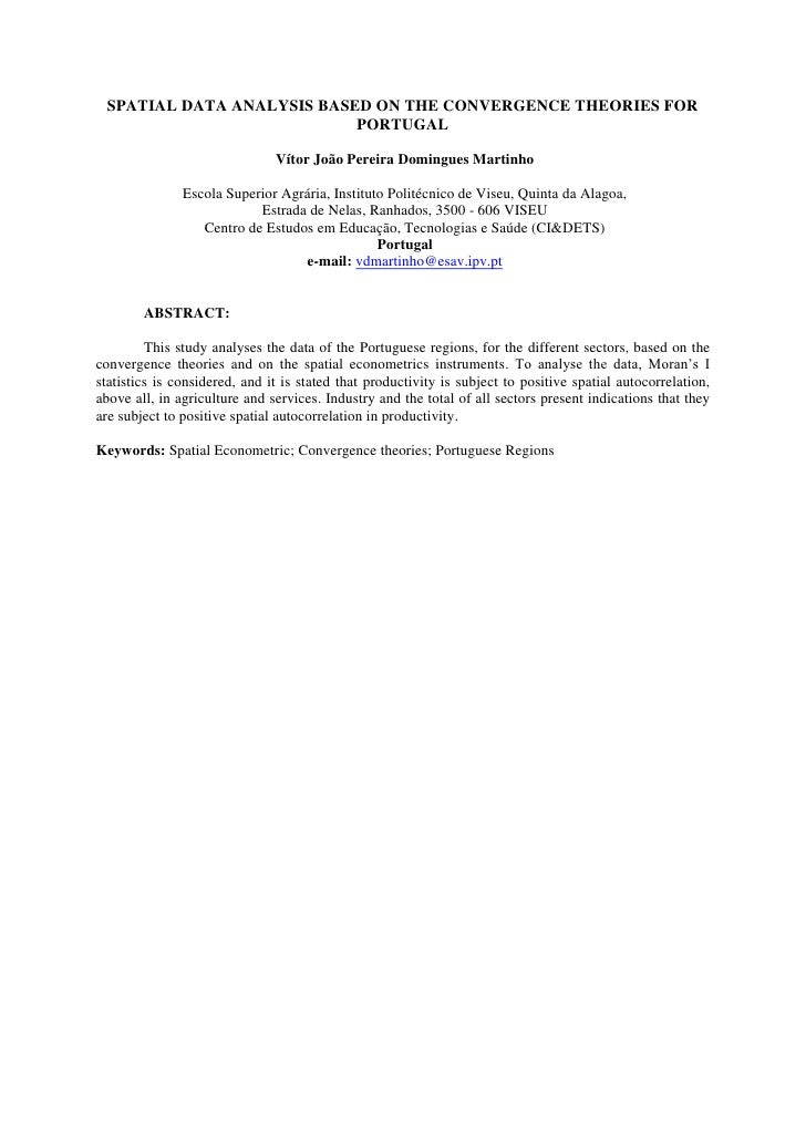 SPATIAL DATA ANALYSIS BASED ON THE CONVERGENCE THEORIES FOR                           PORTUGAL                            ...