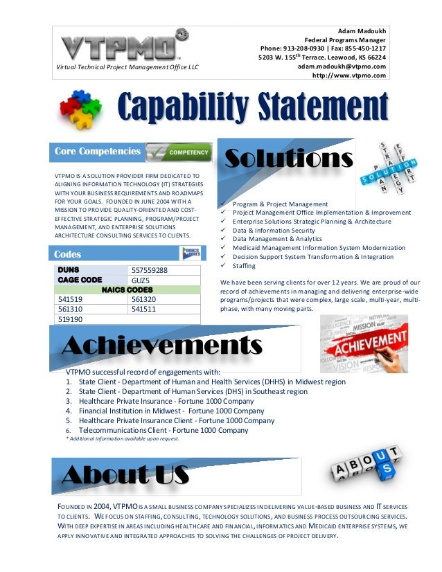 Vtpmo capability statement vtpmo capability statement virtual technical project management office llc adam madoukh federal programs manager phone 913 208 pronofoot35fo Images