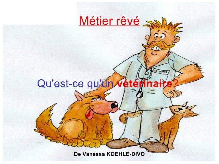 Métier rêvé Qu'est-ce qu'un   vétérinaire ?  De Vanessa KOEHLE-DIVO