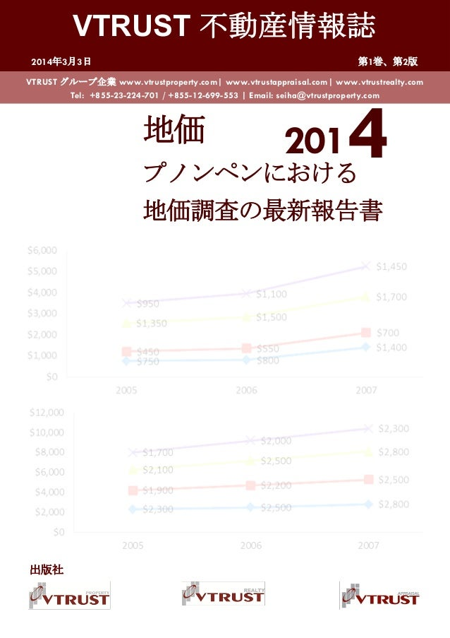 VTRUST 不動産情報誌 2014年3月3日 第1巻、第2版 2014地価 プノンペンにおける 地価調査の最新報告書 VTRUST グループ企業 www.vtrustproperty.com| www.vtrustappraisal.com|...