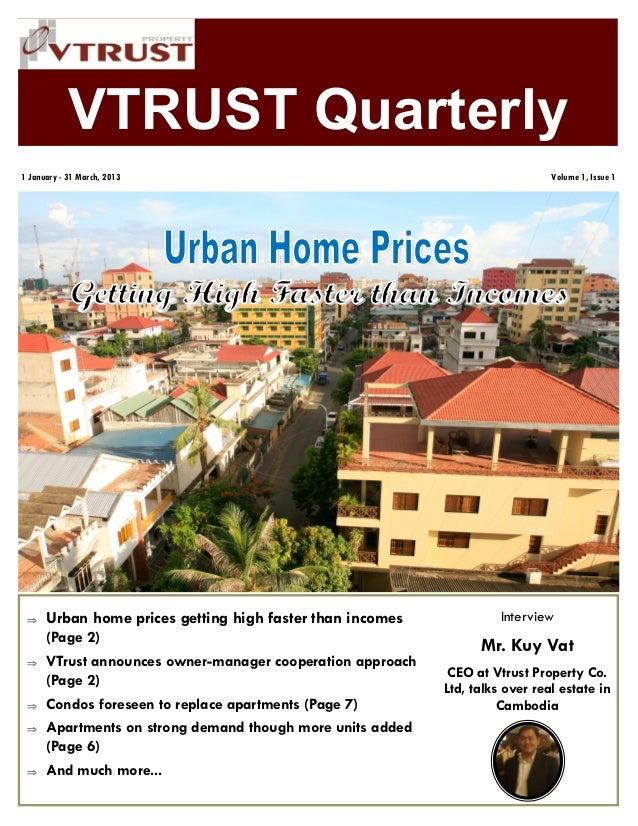 VTRUST Quarterly Urban home prices getting high faster than incomes(Page 2) VTrust announces owner-manager cooperation a...