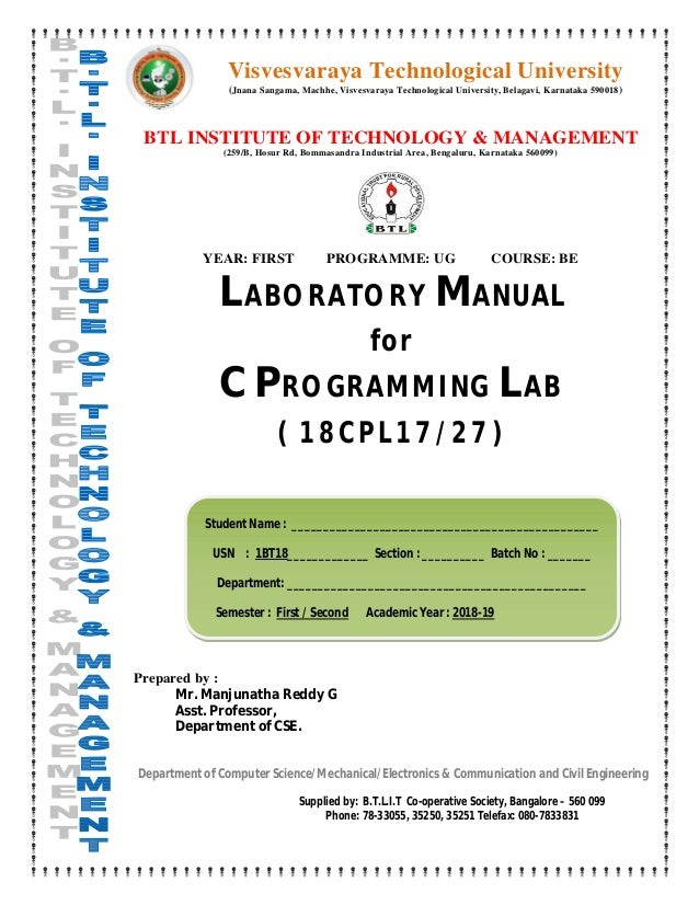 C Programming Lab Manual 18cpl17