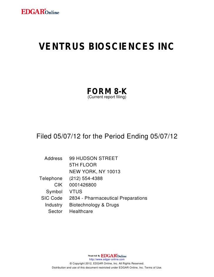 VENTRUS BIOSCIENCES INC                                FORM 8-K                                (Current report filing)File...
