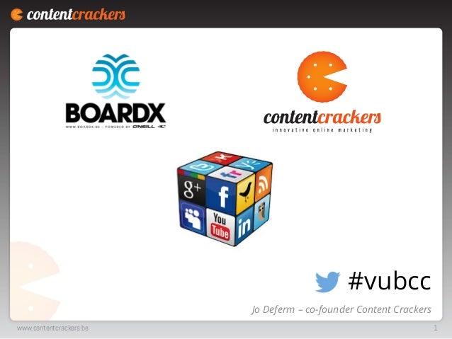 #vubcc Jo Deferm – co-founder Content Crackers www.contentcrackers.be  1