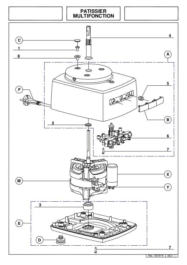 Vue eclatée du robot magimix patissier 6200XL - Pièces détachées 6200…