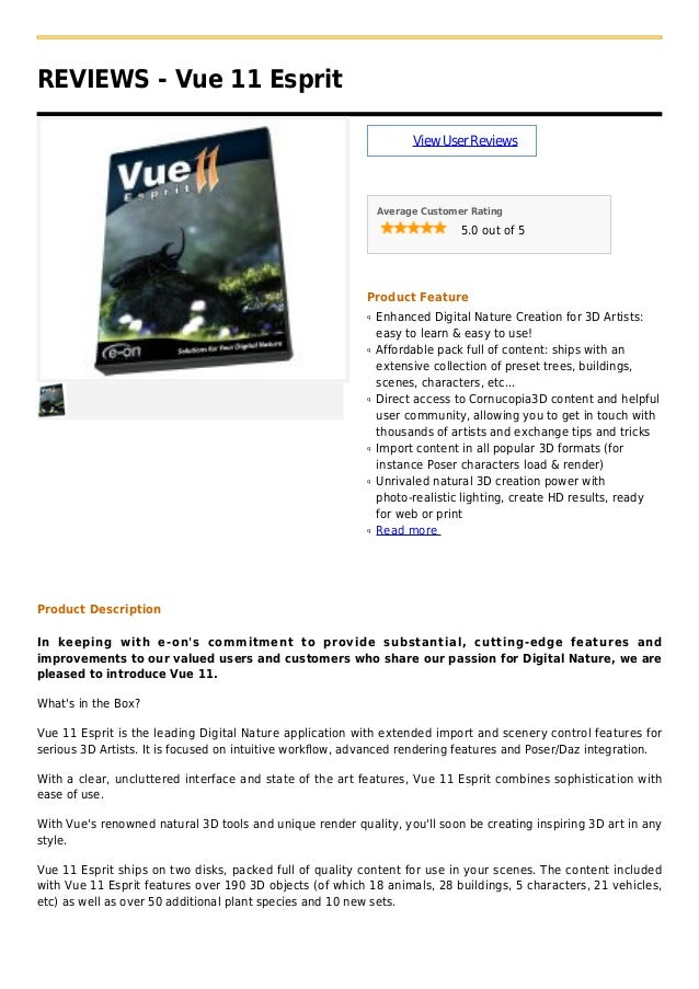REVIEWS - Vue 11 EspritViewUserReviewsAverage Customer Rating5.0 out of 5Product FeatureEnhanced Digital Nature Creation f...