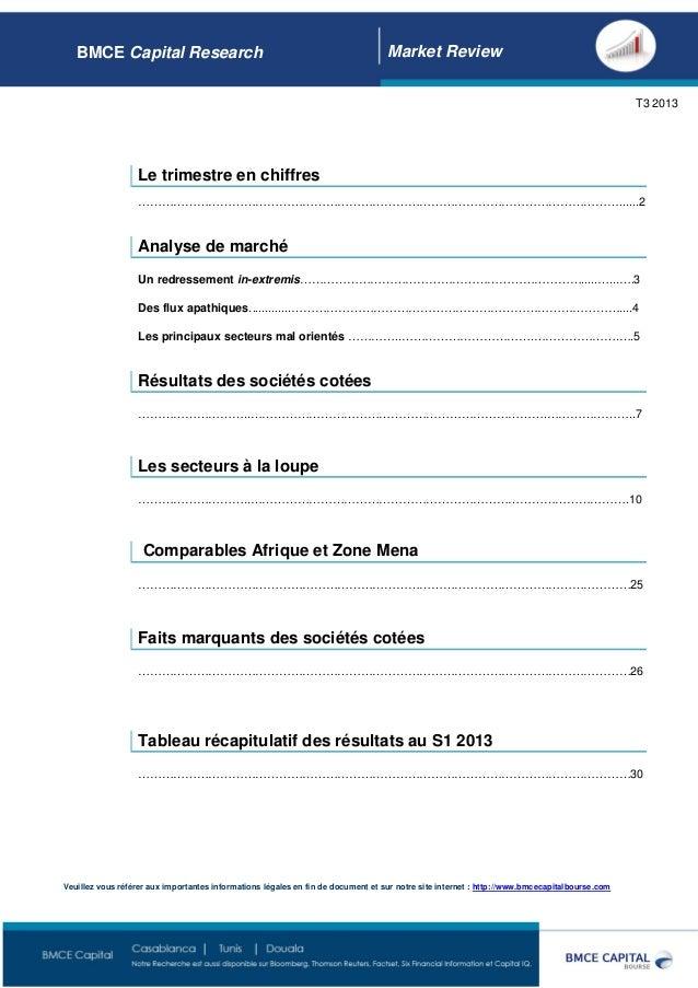 Page 1 BMCE Capital Research Market Review T3 2013 Le trimestre en chiffres ……………………………………………………………………………………………………………........