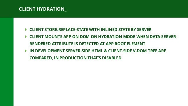 CLIENT HYDRATION_ ‣ CLIENT STORE.REPLACE-STATE WITH INLINED STATE BY SERVER ‣ CLIENT MOUNTS APP ON DOM ON HYDRATION MODE W...
