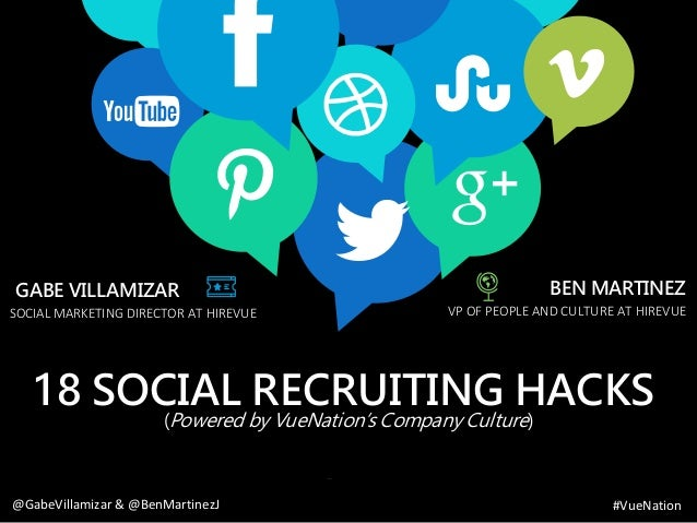 www.bestppt.com 18 SOCIAL RECRUITING HACKS (Powered by VueNation's Company Culture) VP OF PEOPLE AND CULTURE AT HIREVUE BE...