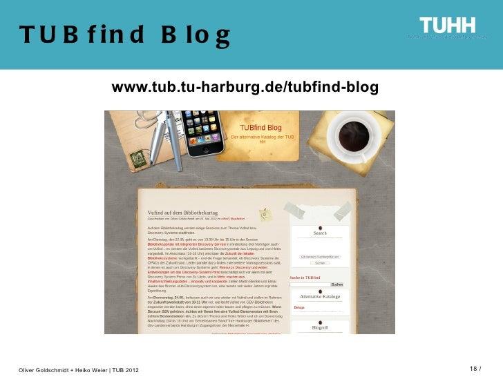 T U B f in d B lo g                                 www.tub.tu-harburg.de/tubfind-blogOliver Goldschmidt + Heiko Weier   T...
