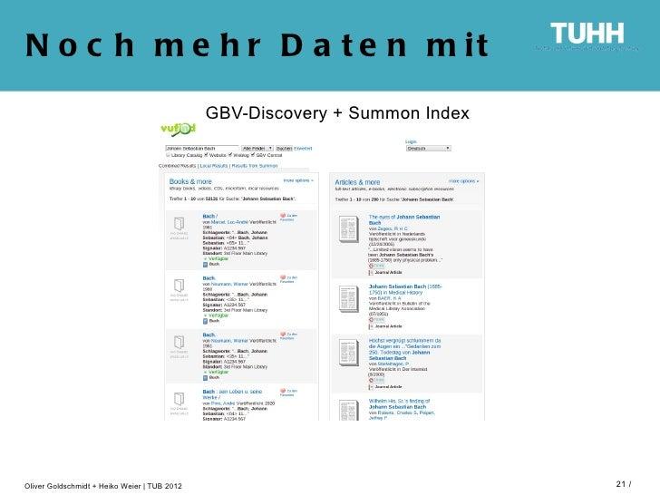 N o c h m e h r D a t e n m it                                              GBV-Discovery + Summon IndexOliver Goldschmidt...