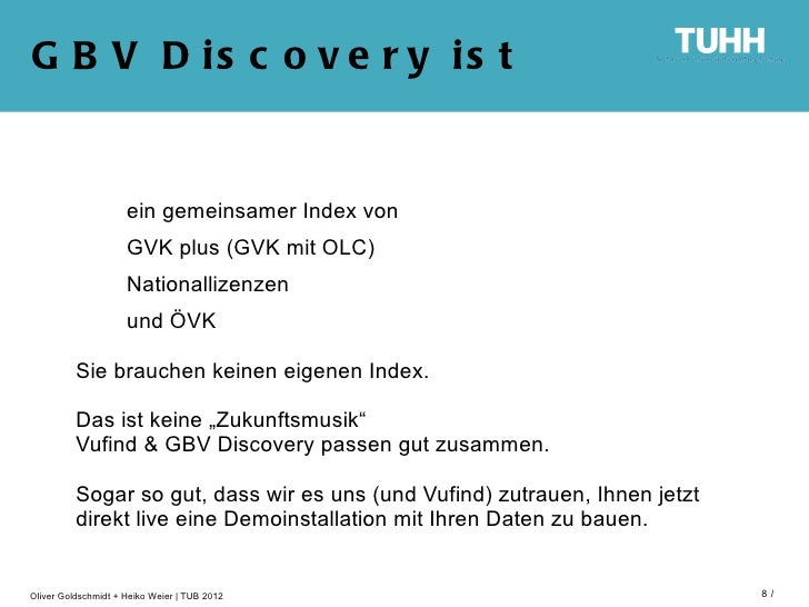 G B V D is c o v e r y is t                     ein gemeinsamer Index von                     GVK plus (GVK mit OLC)      ...