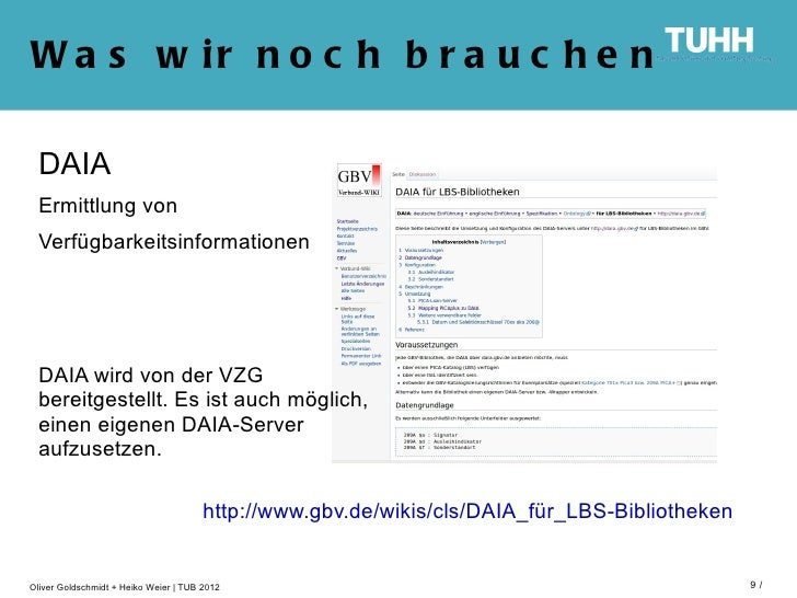 W a s w ir n o c h b r a u c h e n DAIA Ermittlung von Verfügbarkeitsinformationen DAIA wird von der VZG bereitgestellt. E...