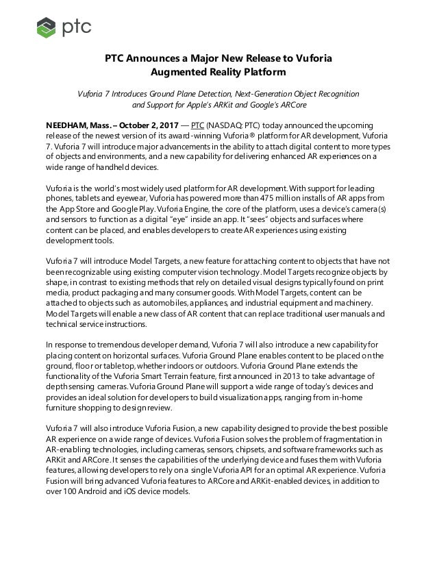 PTC Announces a Major New Release to Vuforia Augmented Reality Platform Vuforia 7 Introduces Ground Plane Detection, Next-...