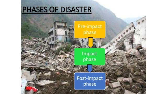 PHASES OF DISASTER Pre-impact phase Impact phase Post-impact phase