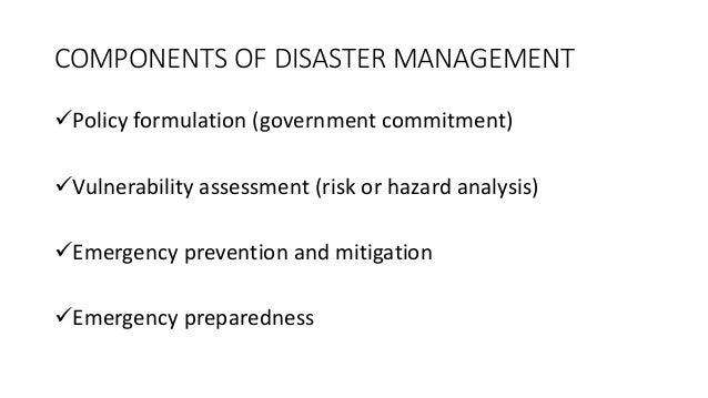 Policy formulation (government commitment) Vulnerability assessment (risk or hazard analysis) Emergency prevention and ...
