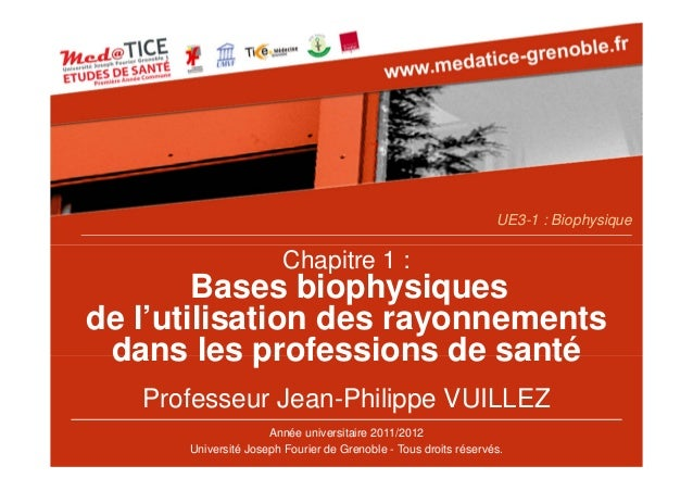 Chapitre 1 : Bases biophysiques de l'utilisation des rayonnements dans les professions de santé Professeur Jean-Philippe V...