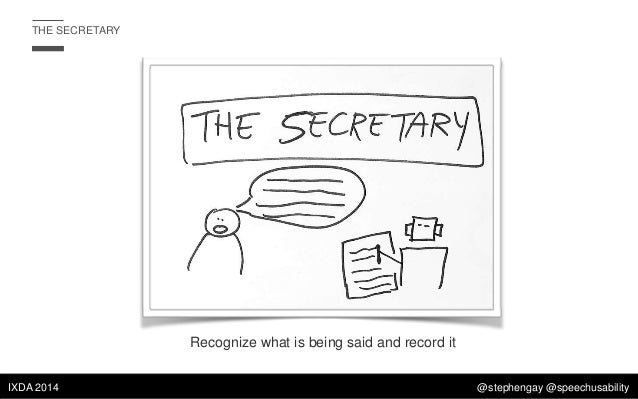 THE SECRETARY  Recognize what is being said and record it IXDA 2014  @stephengay @speechusability
