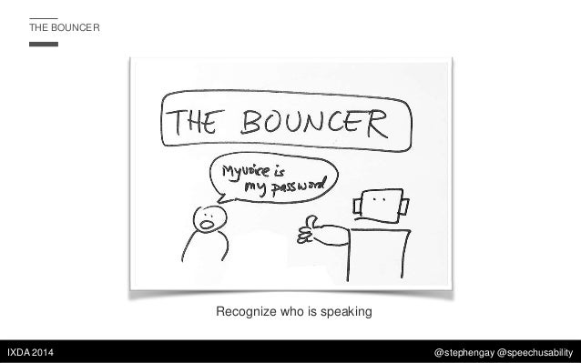 THE BOUNCER  Recognize who is speaking IXDA 2014  @stephengay @speechusability
