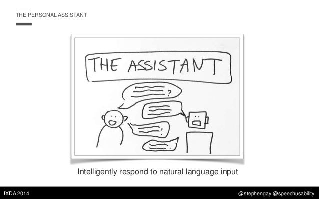 THE PERSONAL ASSISTANT  Intelligently respond to natural language input IXDA 2014  @stephengay @speechusability