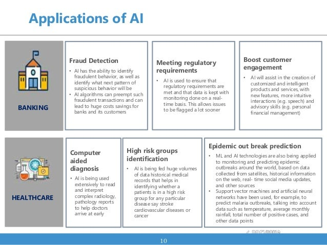 Applications of AI 10 Fraud Detection • AI has the ability to identify fraudulent behavior, as well as identify what next ...
