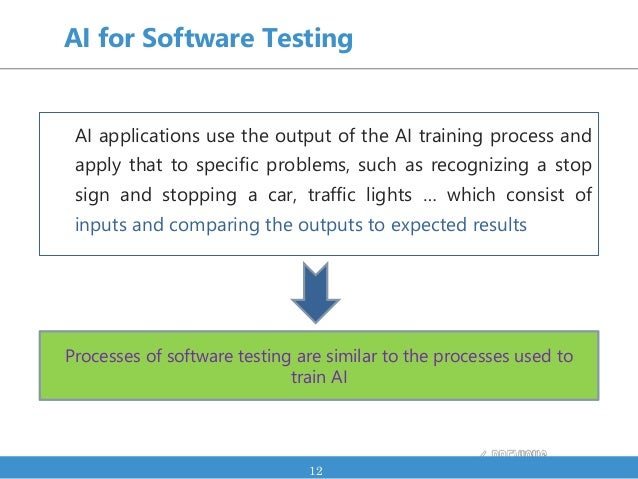 Processes of software testing are similar to the processes used to train AI AI for Software Testing AI applications use th...