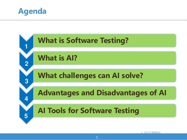 Agenda 3 What is Software Testing? 1 What is AI? 2 What challenges can AI solve? 3 Advantages and Disadvantages of AI 4 AI...