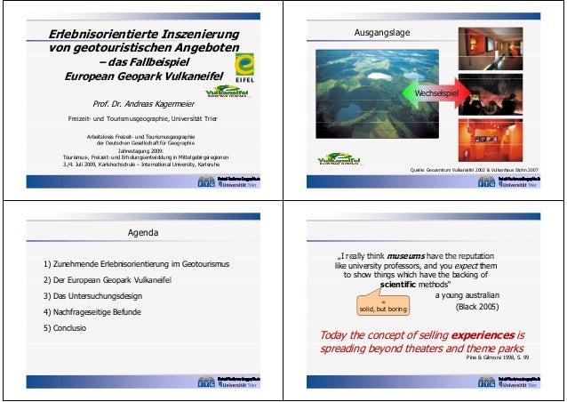 Erlebnisorientierte Inszenierung von geotouristischen Angeboten  Ausgangslage  – das Fallbeispiel European Geopark Vulkane...