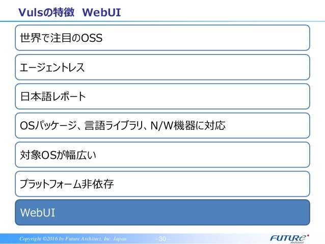 - 31 -Copyright ©2016 by Future Architect, Inc. Japan Vulsの特徴 WebUI VulsRepo • Exelのピボットテーブルのようにスキャン結果の分析が可能 • https://git...