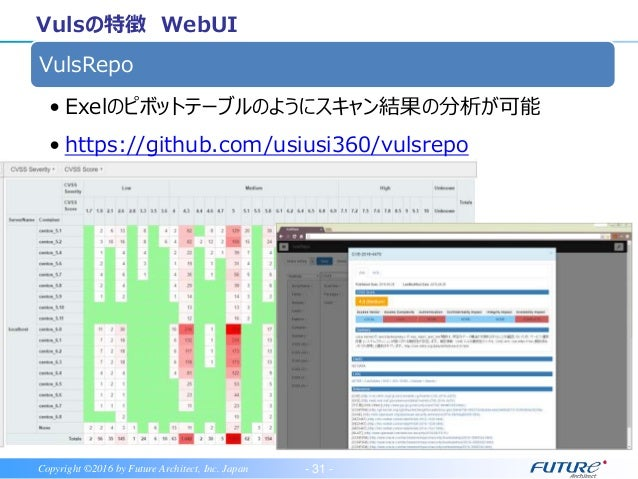 - 32 -Copyright ©2016 by Future Architect, Inc. Japan Vulsの特徴 WebUI Faraday • 現在、Vulsプラギン作成中 • https://github.com/infobyte...