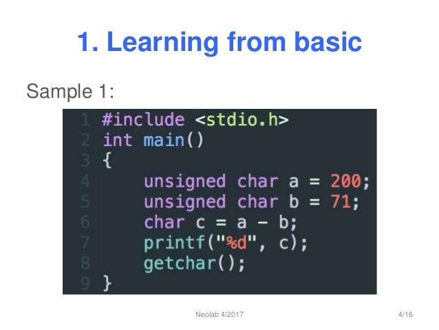 1. Learning from basic Sample 1: Neolab 4/2017 4/16