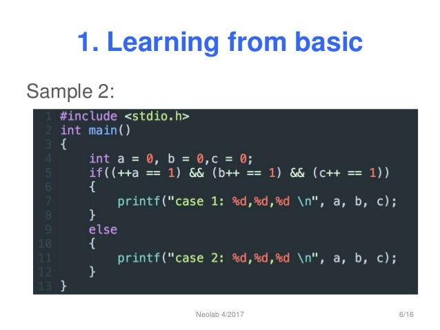 1. Learning from basic Sample 2: Neolab 4/2017 6/16
