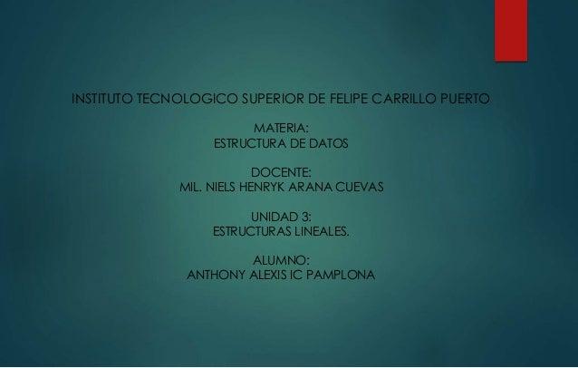 INSTITUTO TECNOLOGICO SUPERIOR DE FELIPE CARRILLO PUERTO  MATERIA:  ESTRUCTURA DE DATOS  DOCENTE:  MIL. NIELS HENRYK ARANA...