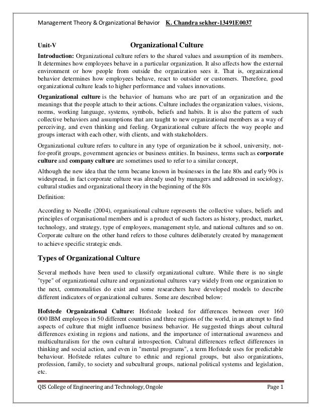 Management Theory & Organizational Behavior K. Chandra sekher-13491E0037  Unit-V  Organizational Culture  Introduction: Or...