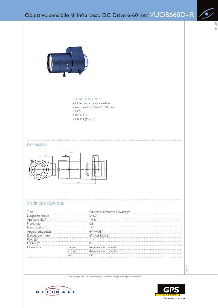 Obiettivo sensibile all'infrarosso DC Drive 6-60 mm VUOB660D-IR                                                           ...