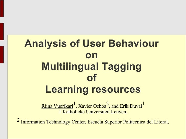 Analysis of User Behaviour                on       Multilingual Tagging                 of       Learning resources       ...