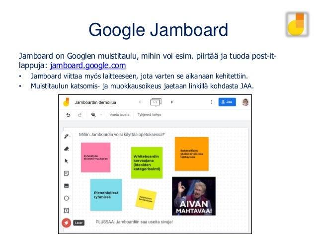 Google Jamboard Jamboard on Googlen muistitaulu, mihin voi esim. piirtää ja tuoda post-it- lappuja: jamboard.google.com • ...