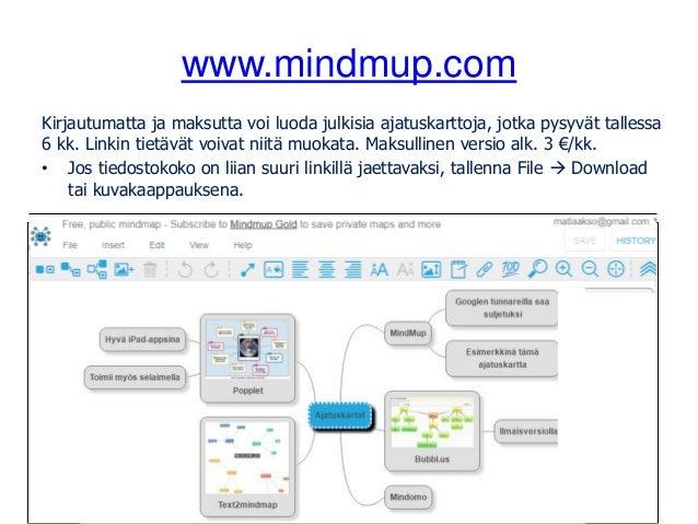 www.mindmup.com Kirjautumatta ja maksutta voi luoda julkisia ajatuskarttoja, jotka pysyvät tallessa 6 kk. Linkin tietävät ...