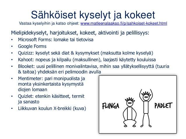 Sähköiset kyselyt ja kokeet Vastaa kyselyihin ja katso ohjeet: www.matleenalaakso.fi/p/sahkoiset-kokeet.html Mielipidekyse...