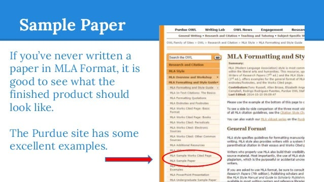 mla citation style sample paper