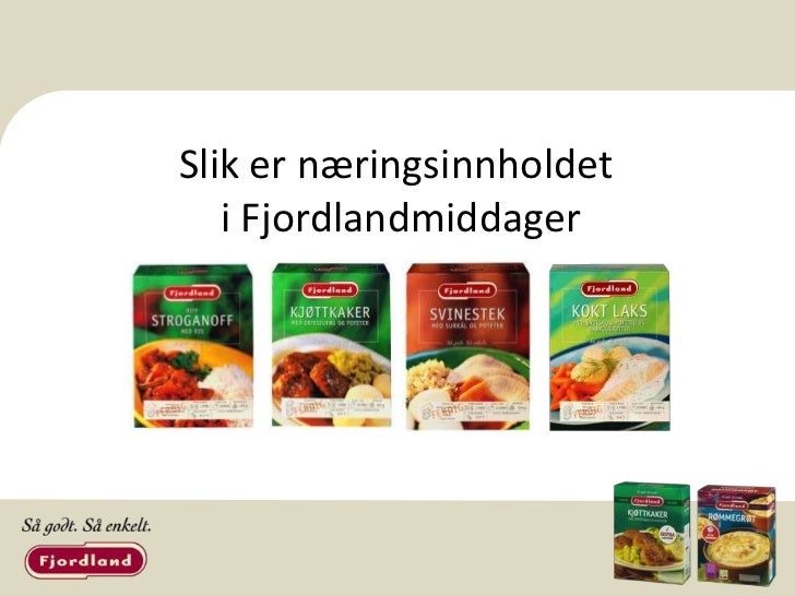 Vurdering av næringsinnhold i fire   middagsretter fra Fjordland