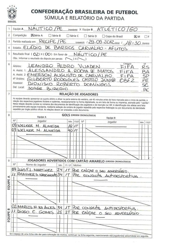 Súmula Náutico x Atlético-GO