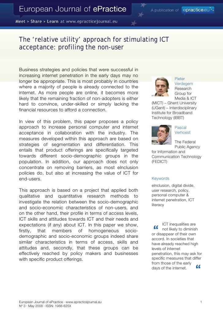 The 'relative utility' approach for stimulating ICT acceptance: profiling the non-user   Business strategies and policies ...
