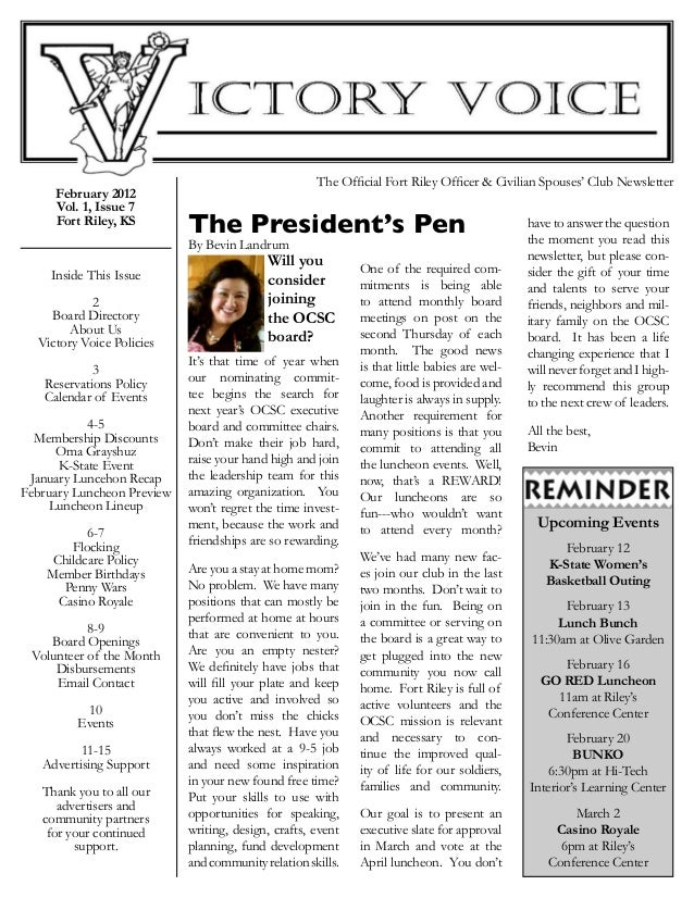 February 2012 Vol. 1, Issue 7 Fort Riley, KS  Inside This Issue  2 Board Directory About Us Victory Voice Policies  3 R...