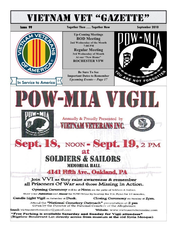 """VIETNAM VET """"GAZETTE"""" Issue 99   Together Then ..... Together Now   September 2010                  Up-Coming Meetings    ..."""