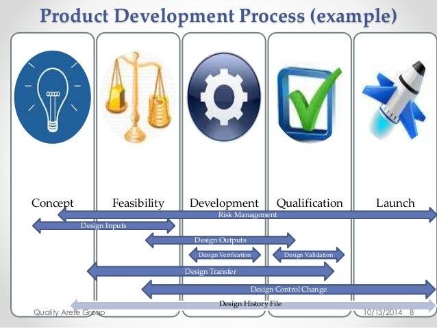 Product Development Process (example)  Concept Feasibility Development Qualification Launch  8  Risk Management  Design Ou...