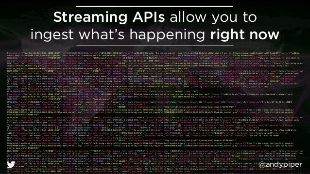 """@andypiper Streaming APIs allow you to ingest what's happening right now {""""created_at"""":""""Sun Dec 01 21:44:59 +0000 2013"""",""""..."""
