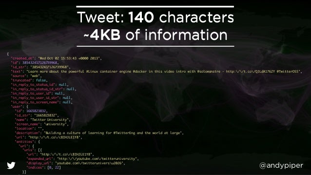 """@andypiper Tweet: 140 characters ~4KB of information Tweet: 140 characters ~4KB of information { """"created_at"""": """"Wed Oct..."""