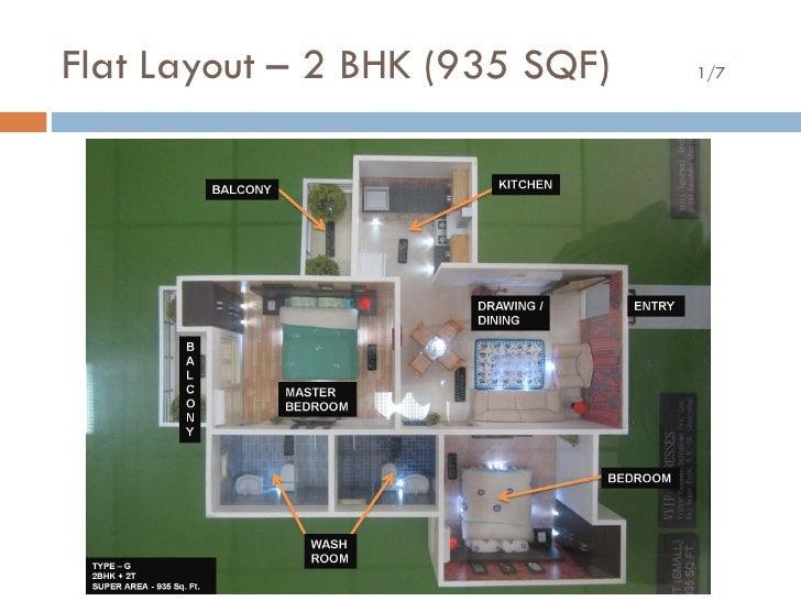 Flat Layout – 2 BHK (935 SQF)   1/7